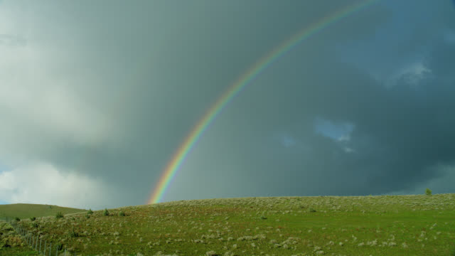 wide shot rainbow and grey clouds over green grassy landscape - rainbow stock videos & royalty-free footage