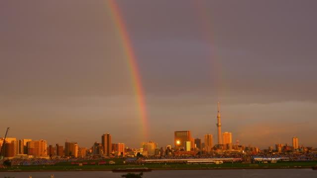 rainbow and tokyo sky tree - arcobaleno video stock e b–roll