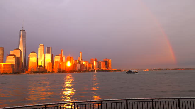 rainbow appears over lower manhattan skyscrapers after a thunderstorm on may 26, 2021 in new york city. - rippled stock videos & royalty-free footage