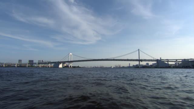 rainbow bridge and tokyo bay pov - artbeats stock videos & royalty-free footage