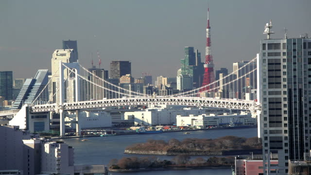 Rainbow Bridge and Tokyo Bay, with the Tokyo Tower in view, Odaiba district, Tokyo, Japan, Asia