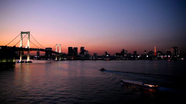 rainbow bridge and tokyo tower - tokyo bay stock videos and b-roll footage