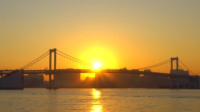 Rainbow Bridge at dusk, Tokyo, Japan -boat