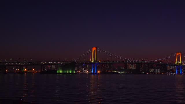 Rainbow Bridge at dusk, Tokyo, Japan