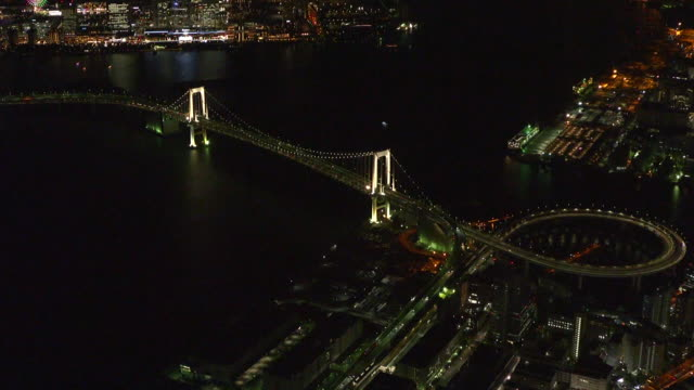 aerial, rainbow bridge at night, tokyo, japan - minato ward stock videos & royalty-free footage