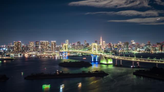 T/L WS HA Rainbow Bridge at Night / Tokyo, Japan