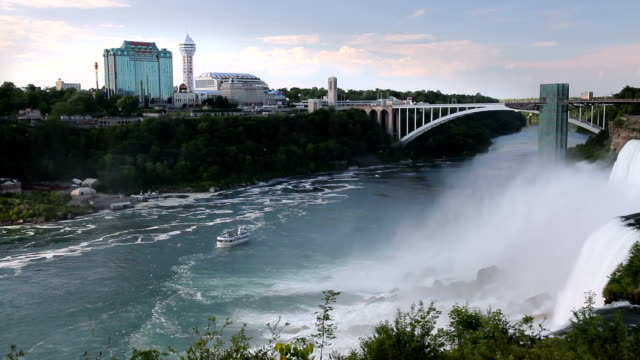 rainbow bridge on the boarder hd - niagara falls stock videos & royalty-free footage