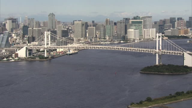 aerial, rainbow bridge, tokyo, japan - tokyo bay stock videos and b-roll footage
