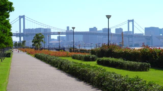 rainbow bridge / waterfront / seaside park - tokyo bay stock videos & royalty-free footage