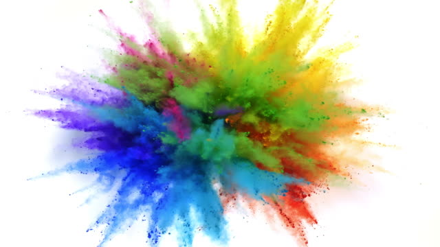 rainbow color powder exploding towards camera in close up and super slow-motion, white background - colours stock videos & royalty-free footage