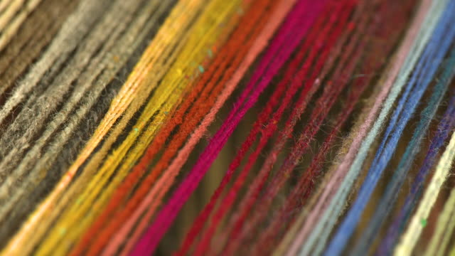 rainbow color threads stretched taught - loom stock videos & royalty-free footage