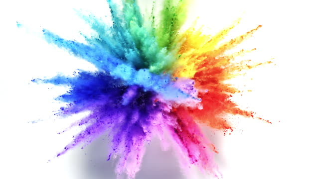 stockvideo's en b-roll-footage met rainbow colored powder exploding towards camera in close up and super slow-motion, white background - beschrijvende kleur