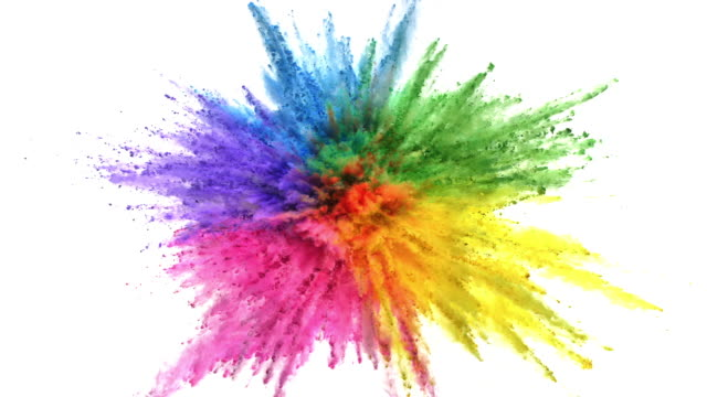 vídeos de stock, filmes e b-roll de rainbow colored powder exploding towards camera in close up and super slow-motion, white background - changing form