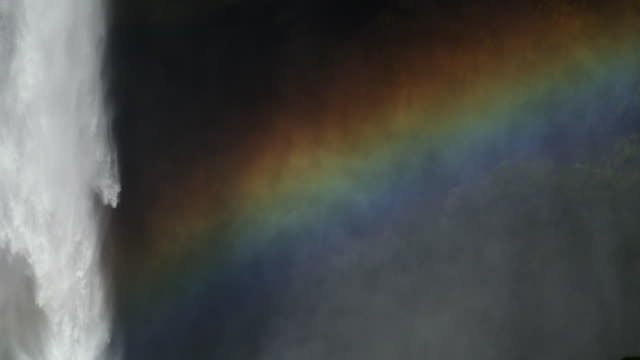 rainbow created as light hits a waterfall - falling water stock videos & royalty-free footage