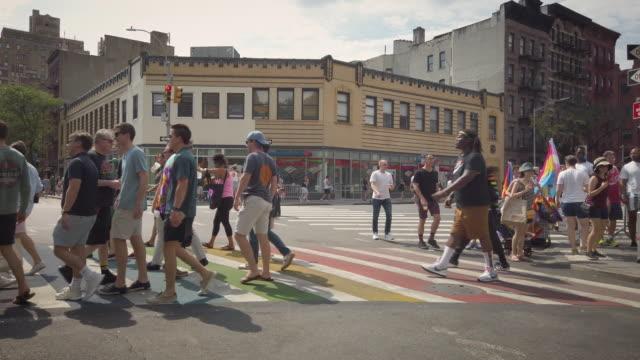 lgbt rainbow crosswalk in west village new york - wide stock videos & royalty-free footage