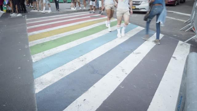lgbt rainbow crosswalk in west village new york - fashion week stock videos & royalty-free footage