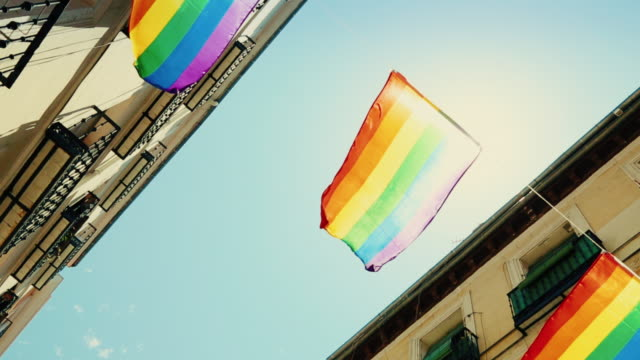 Rainbow Flag Gay Rights Pride in Chueca district, Madrid