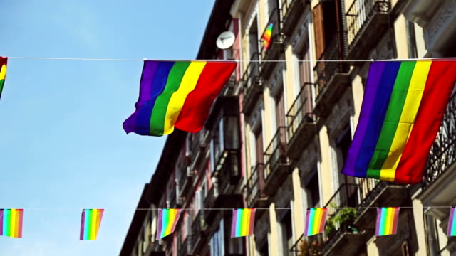 rainbow flag gay rights pride in madrid, spain - rainbow flag stock videos & royalty-free footage