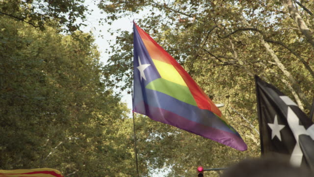 rainbow flag lgbtqi at catalonia demonstration movement for the independence from spain. barcelona during 11 september 2018, catalan national day - referendum stock videos & royalty-free footage