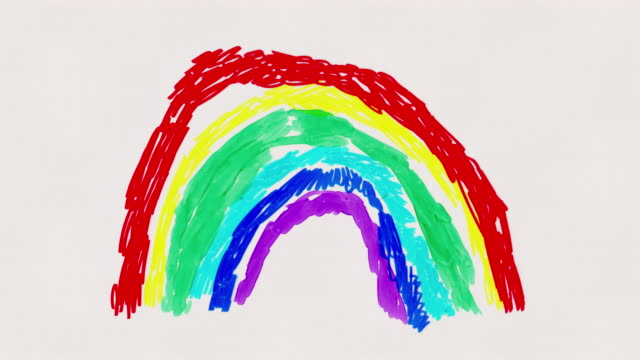 vídeos de stock e filmes b-roll de rainbow forming and 'thank you' - animated child's drawing - animation moving image