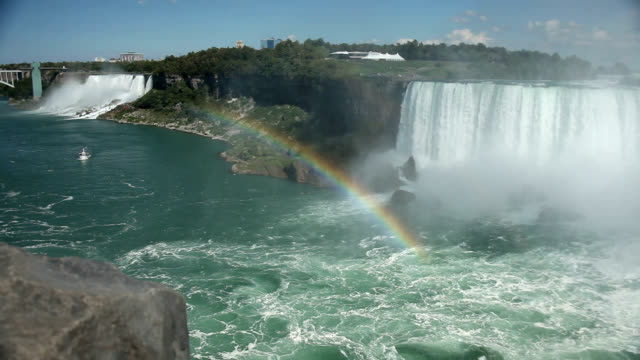 rainbow forming in mist at niagara falls - niagara falls stock videos and b-roll footage