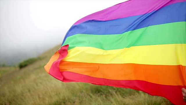 rainbow gay pride flag in the open - rainbow flag stock videos & royalty-free footage