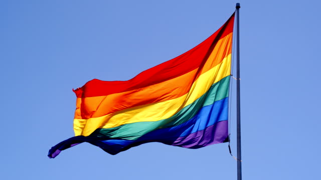 rainbow gay pride flag - flag stock videos & royalty-free footage