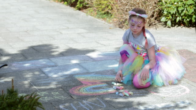 rainbow girl - chalk art equipment stock videos & royalty-free footage