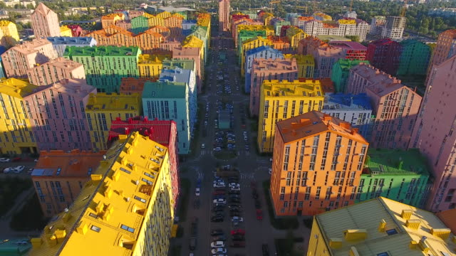 rainbow houses aerial view - spectrum stock videos & royalty-free footage