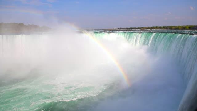 rainbow in the horseshoe fall in niagara falls, canada - fiume niagara video stock e b–roll