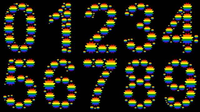 vidéos et rushes de ensemble de nombres d'arc-en-ciel - chiffre 8