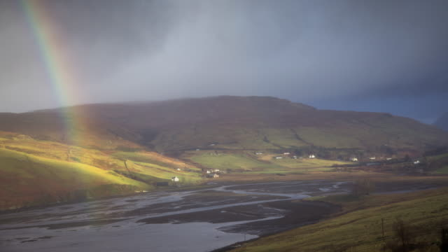 rainbow on the isle of skye - time lapse - hill stock videos & royalty-free footage