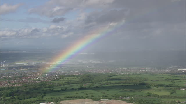 rainbow over connah's quay - wales stock videos & royalty-free footage