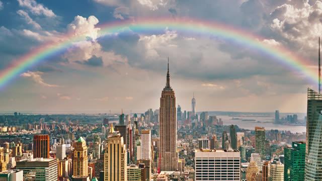 rainbow over manhattan. aerial view. - rainbow stock videos & royalty-free footage