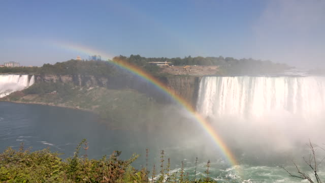rainbow over niagara fall - niagara falls stock videos and b-roll footage