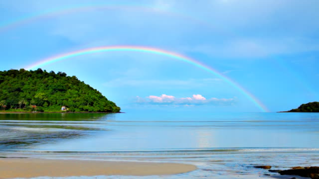 rainbow over sea - hawaii islands stock videos & royalty-free footage