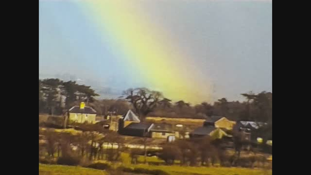 rainbow over the country village - abstract stock videos & royalty-free footage