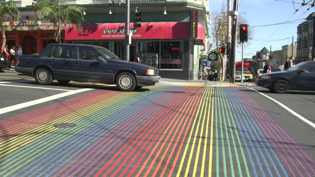 rainbow stripes on san francisco street for pride month - san francisco california stock videos & royalty-free footage
