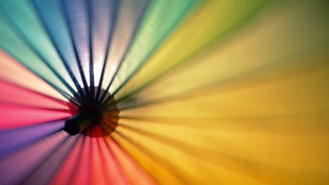 rainbow umbrella spinning - multi coloured stock videos & royalty-free footage