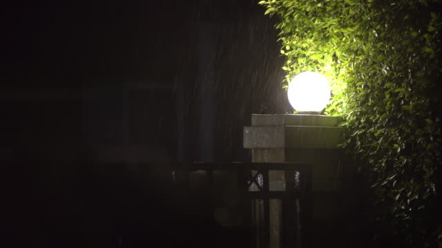 raindrop on the lamp at home at night time - loopable elements stock videos & royalty-free footage