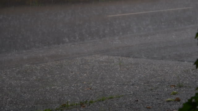 raindrops bounce off road in heavy rain - torrential rain stock videos & royalty-free footage