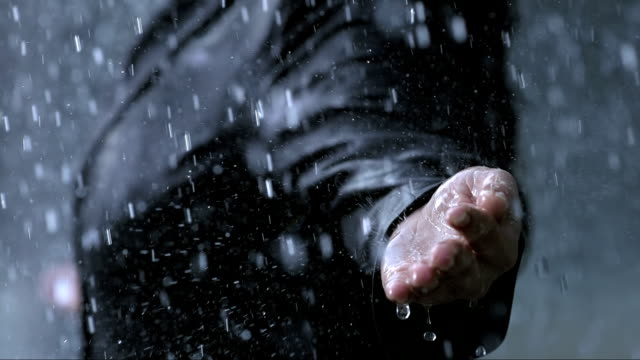 Raindrops Falling On A Hand (Super Slow Motion)