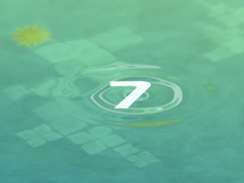 vidéos et rushes de raindrops falling on a pond turning into numbers - chiffre 9