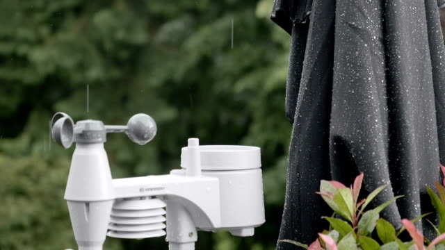 raindrops falling on weather station in slow motion - wetterstation stock-videos und b-roll-filmmaterial