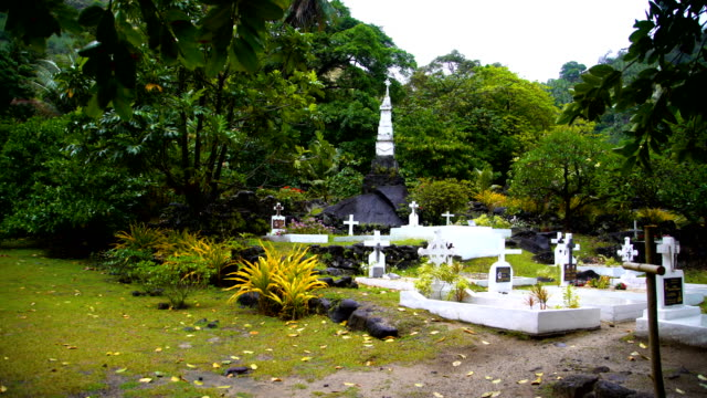rainforest church vaitahu on tahuata island marquesas pacific - 宗教上のシンボル点の映像素材/bロール
