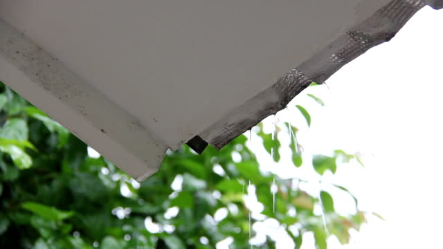 raining drop through eaves - awning stock videos and b-roll footage