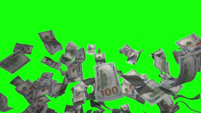 raining money 4k stock video over green screen chroma key background - stack stock videos & royalty-free footage