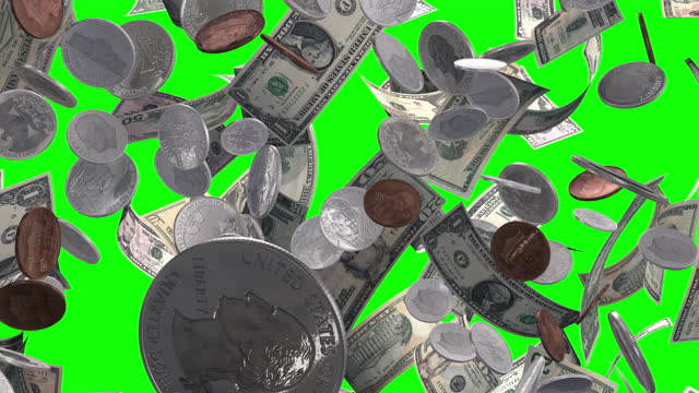 raining money and coins on green screen - five cent coin stock videos & royalty-free footage