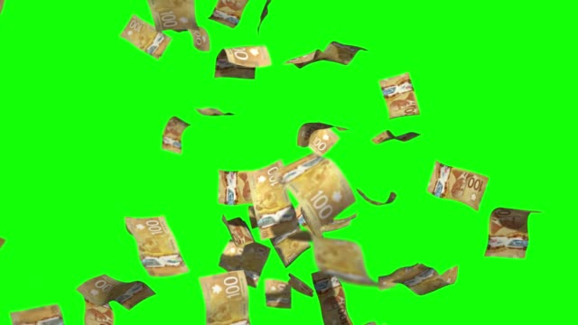 raining money stock video 100 canadian dollars over green screen chroma key background - group of objects stock videos & royalty-free footage