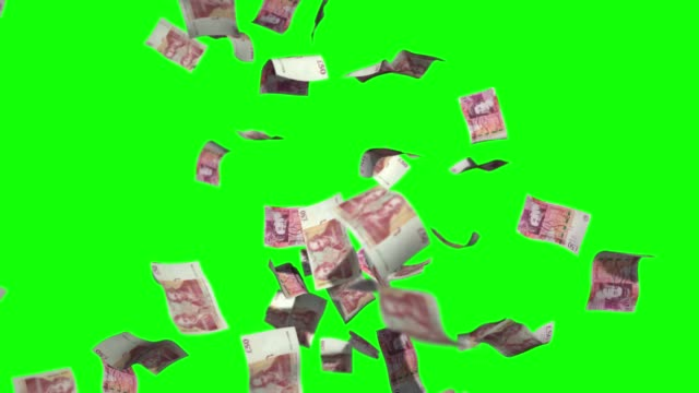 raining money stock video fifty biritsh pound sterlin currency over green screen chroma key background - pound sterling symbol stock videos & royalty-free footage